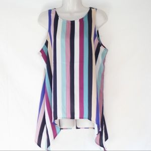 Label Rachel Roy Striped Sleeveless Blouse Large